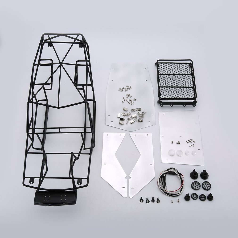 Black 1/10 Scale RC Metal Frame Roll Cage w/inner Parts Rock Crawler Body Black Chassis Climbing Truck Parts CJG6006 SCX10