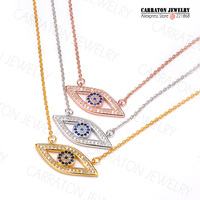 Full CZ Solid 925 Sterling Silver Evil Eye Pendant Necklace