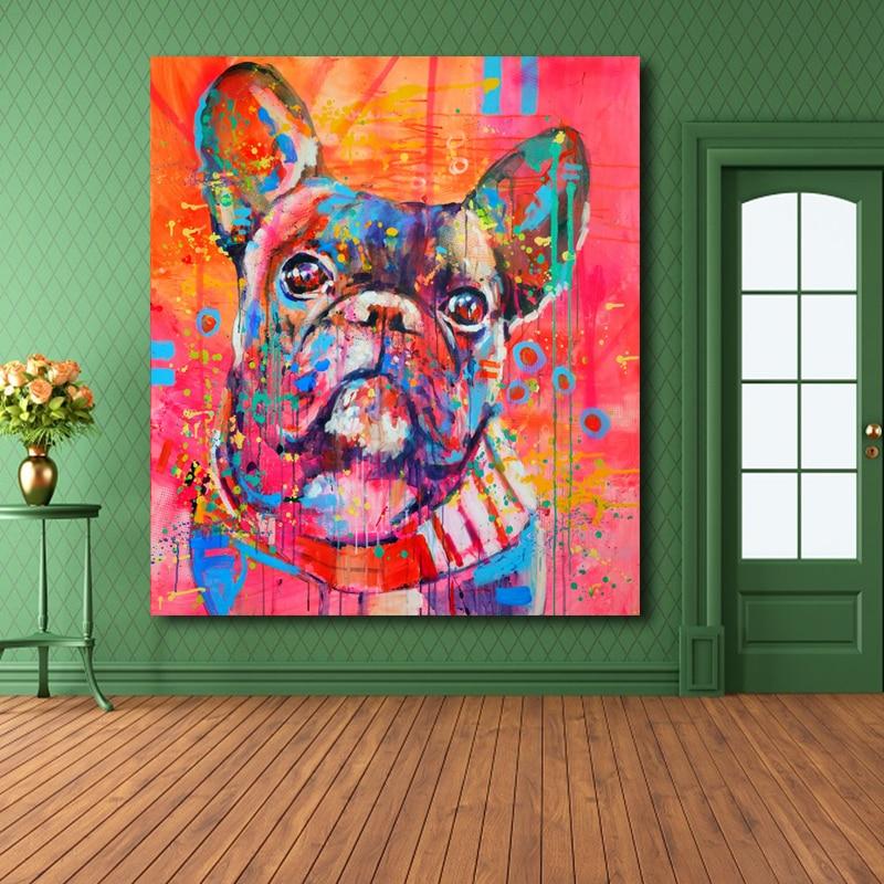 Indah Kartun Hewan Canvas Art Print Lukisan Lucu cat air Anjing - Dekorasi rumah - Foto 5