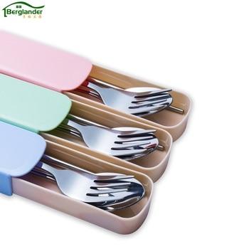 BERGLANDER 4pcs/sets Stainless Steel Tableware Set Portable Cutlery set Travel Picnic Dinnerware Set For Kids School tableware