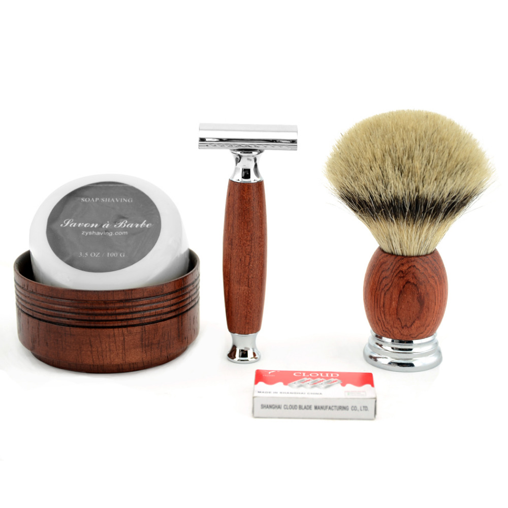 Classic Wooden Handle Safety Razor Kit Mens Shaving Brush Wood Shaving Bowl Soap Shaving +10pcs Free Blades For Men's Gift