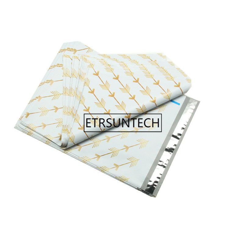 500pcs Creative design Golden Arrow Style Post Mail Bags Poly Mailer Self Sealing Mailer Packaging Envelope Courier express bag
