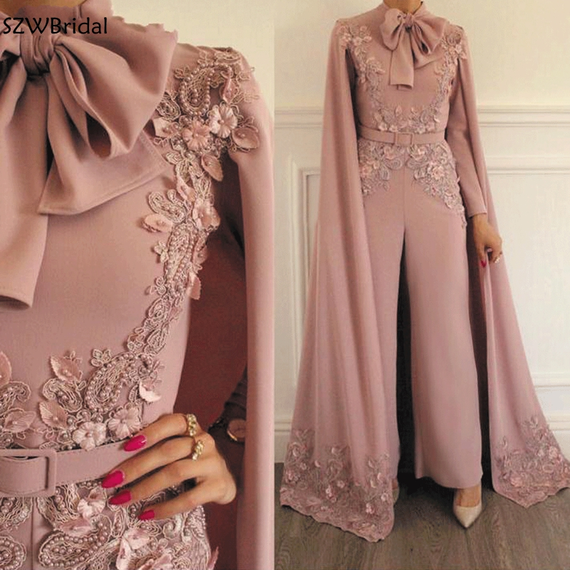 New Arrival Jumpsuit Rompers For Women Dusty Pink Beaded Lace Applique Evening Pants Dubai Arabic Evening Dresses 2020