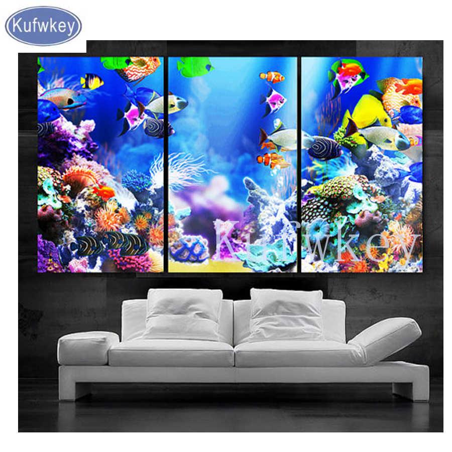 """Полный квадрат 5DIY Алмазная картина из 3 частей """"Красивая аквариумная рыба"""" Алмазная вышивка мозаика Алмазный Вышивка крестиком Настенный декор"""