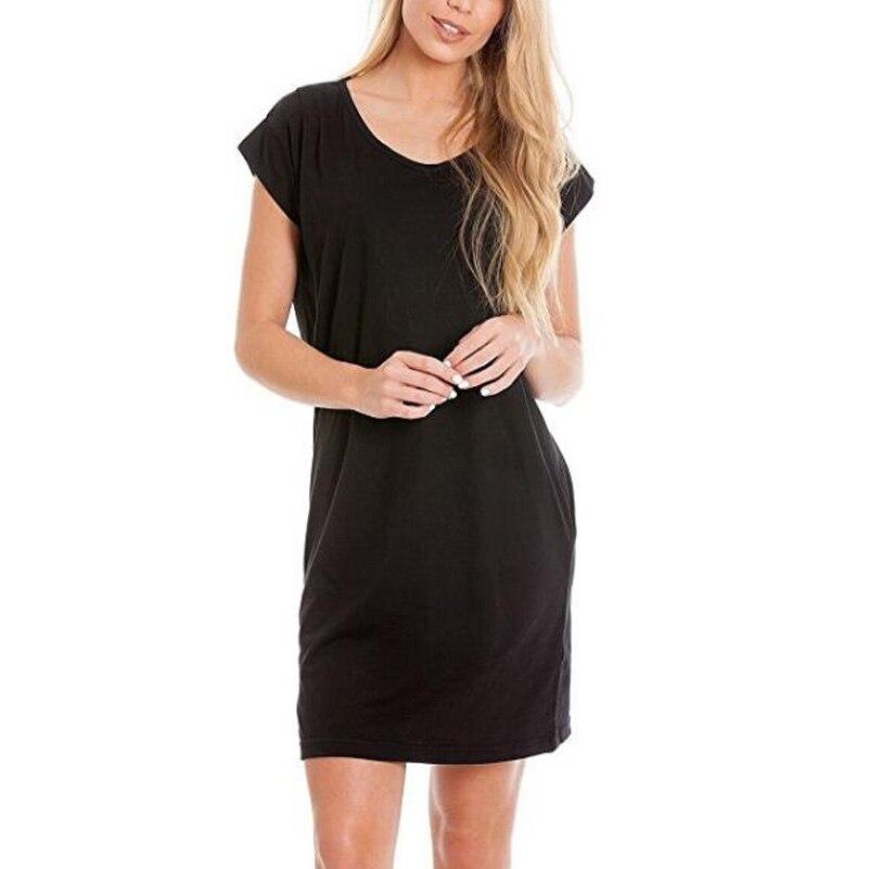 Womens Breastfeeding Nursing Dress O-Neck Short Sleeve Solid Colour Short Cotton Dress Free Shipping