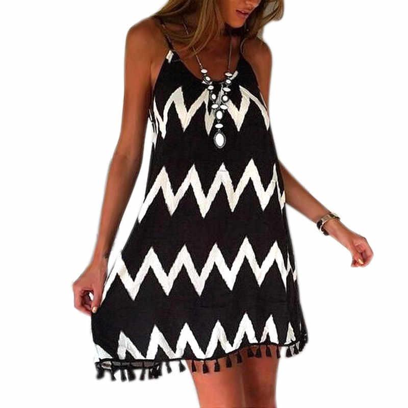 קיץ שמלת נשים גבירותיי 2019 אופנה קלע שמלת שחור לבן שיפון ללא משענת טאסל Hem מסיבת חוף שמלת Feminina Vestidos