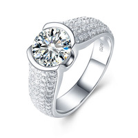 8 0mm 2 0ct Round Moissanite Pave Setting Ring Fashion Ring In 14K White