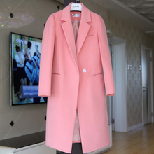 New 2016 Winter Solid Long Style Jackets Coats Women's Color Single Button Elegant Lapel Pockets Woolen Coat Plus Size Outerwear