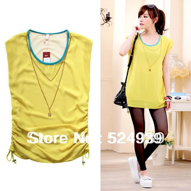 536f304e1fed8 free shipping Korean version round neck butterfly sleeve Yellow/Pink/Green  chiffon women long blouse/top one size/XL/XXL/XXX