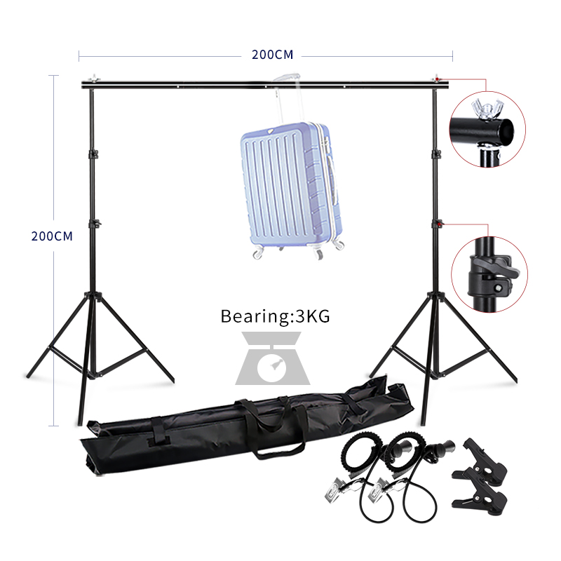 Photography Studio Heavy Duty 2mx2m Photo Studio Backdrop Background Support Stand Kit photo studio 2 6 3m adjustable background support stand photo backdrop crossbar kit photography equipment