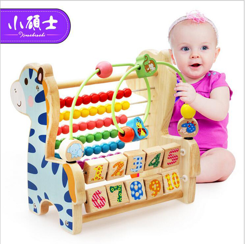 High Quality Wooden Multifunctional Beregn hylla for barn Kids Early Educational Abacus Puzzle Intelligence Leker Gave
