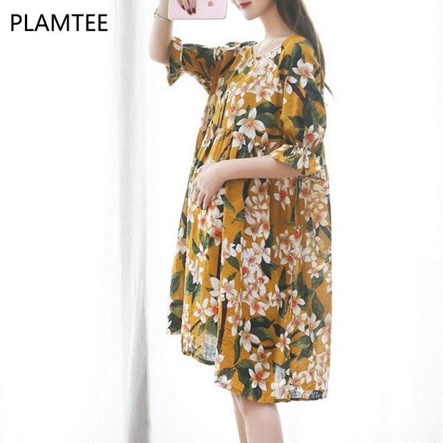 f7036296157e PLAMTEE Elegant Flower Print Dress Women Maternity Clothing New Ruffles  Sleeve Dresses Pregnant Female Loose Pregnancy Clothes