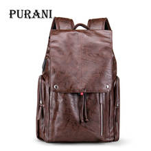 PURANI USB Charge Port Men Backpack Large Capacity Daypacks Laptop Backpack Men Travel Bag PU Leather Back packs Waterproof Bag