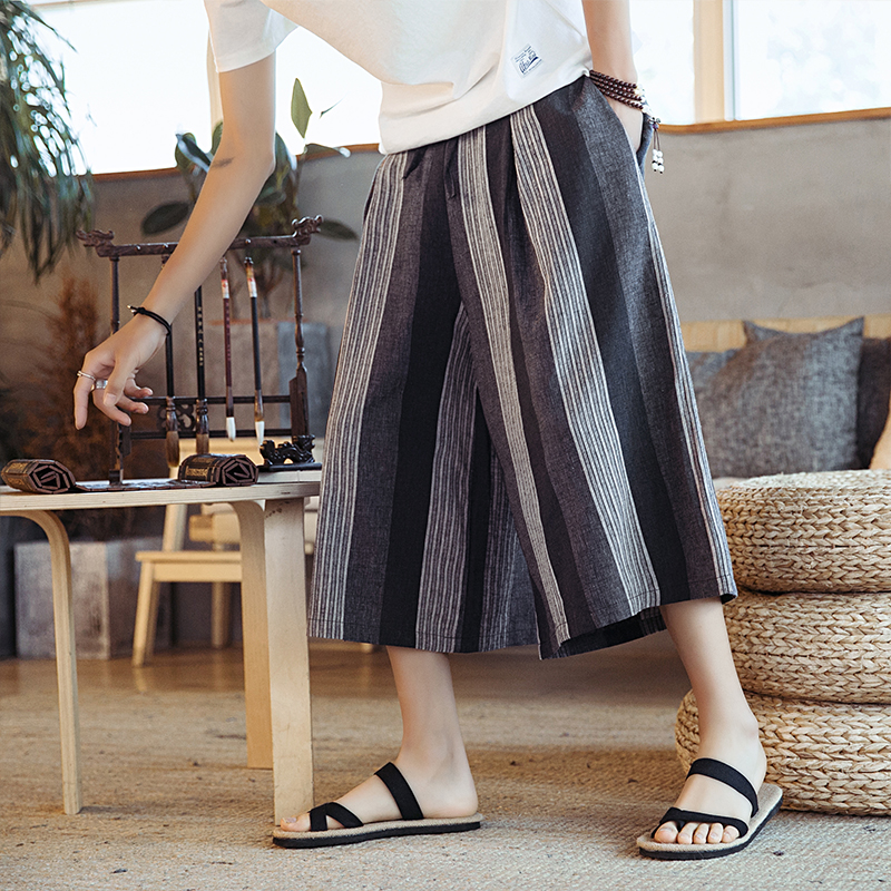 Men Loose Stripe Harem Pant Male Summer Casual Skirt Trousers Thailand Streetwear Travel Wide Leg Pant