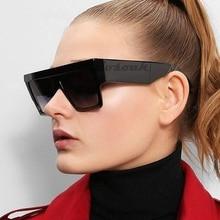 Flat Top Oversized Square Vintage Sunglasses For Men Brand Designer Wide Leg Women Glasses UV400 Lunette De Soleil Red Black