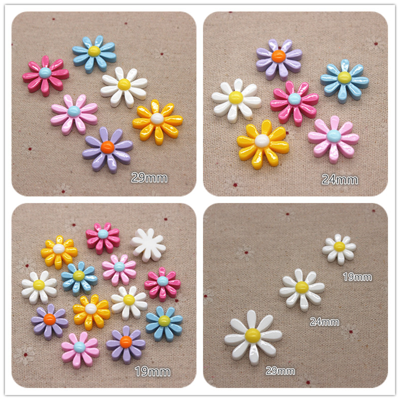 19mm/24mm/29mm Resin New Mix Colors Eight-Petal Flower Flatback Cabochon DIY Craft/Jewelry/Phone Decoration Accessories