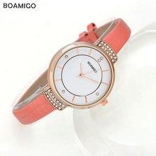 BOAMIGO moda cuarzo de las mujeres relojes correa de cuero de lujo a estrenar de las señoras rhinestone blanco relojes de las mujeres relojes de pulsera relojes