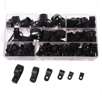 OOTDTY 200pcs Black Nylon P Type Cable Clamp Fastener Plastic Wire Clips Cable Cord Clip