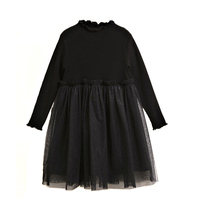 2017 Girls Teens Evening Party Dress Black Kids Clothes Long Sleeve Tulle Tutu Princess Dresses New
