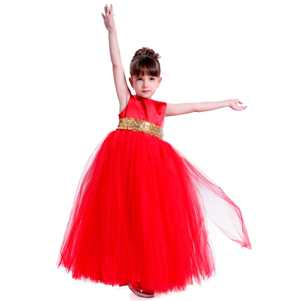 Baby Girl Sequins Bowknot Ruffle Dress for Kids Valentine's Day Backless Solid Dress Tutu Girls Clothing Red Pageant Party Dress