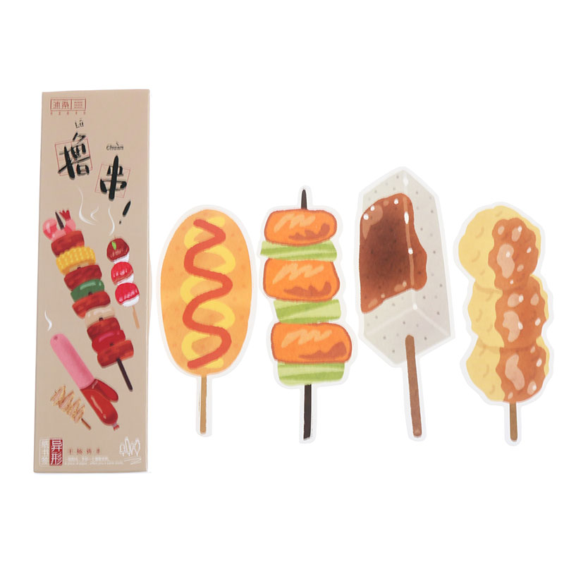 Barbecue Food Bookmarks Food Creative Shaped Bookmarks Cute Kawaii Office Supplies Children Student Stationery 30 Pieces / Box