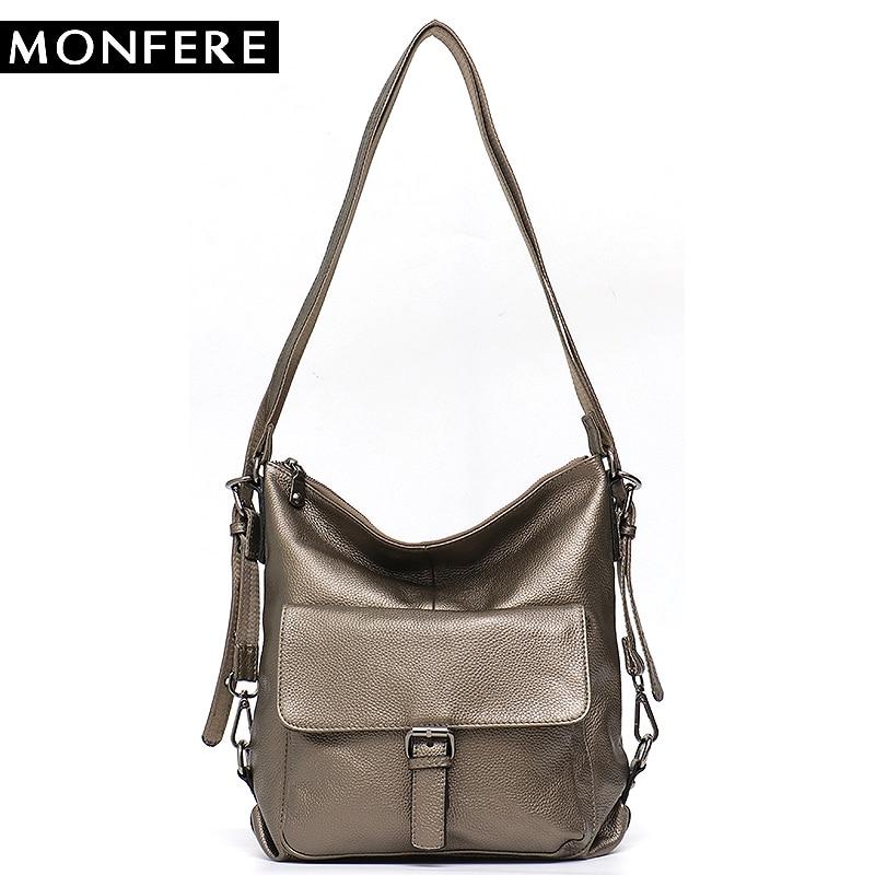 цена на MONFERE Genuine Leather Backpack School Bag for Girls Multi Function Large Shoulder&Cross Body Bag Cowhide Skin Front Pocket Bag