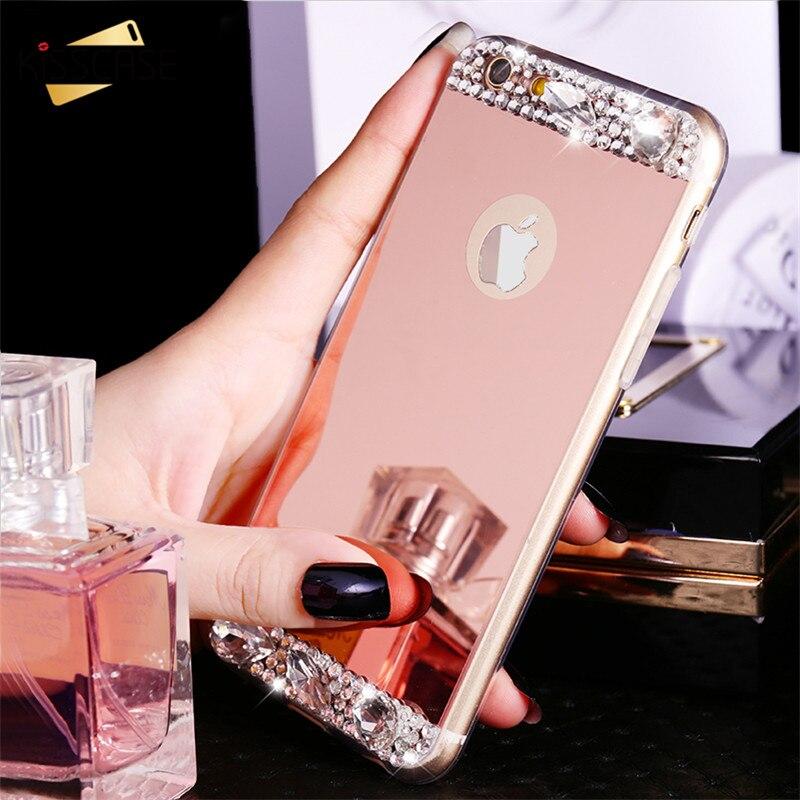 Mirror Luxury Diamond Rhinestone Tpu Case For Iphone 6 6s