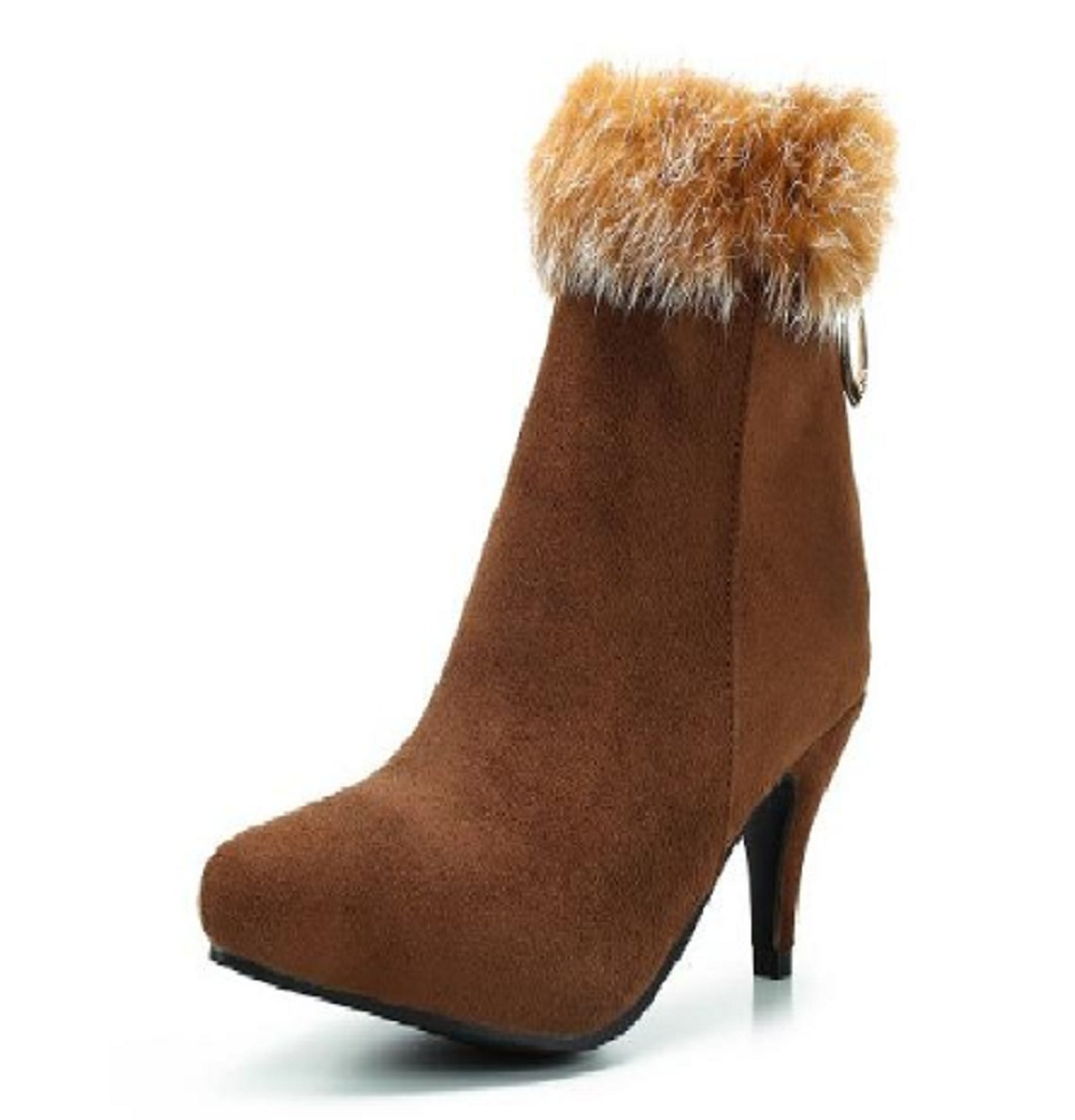 2017 winter boots woman spike heels high heel  pointed toe plus size flock fashion ankle boots rabbit fur women's wedding shoes autumn winter cool fashion black leather and suede spike heel short boots charming woman pointed toe ankle boots concise design