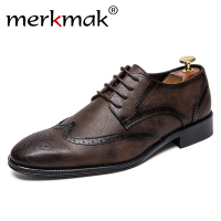 Merkmak New 2018 Men Dress Shoes Formal Wedding Genuine Leather Shoes Retro Brogue Business Office Men's Flats Oxfords For Men