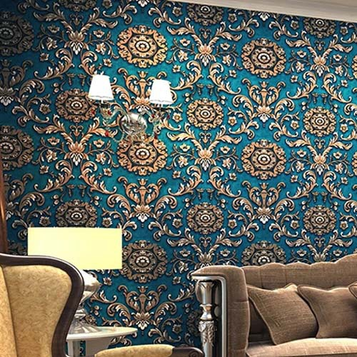 3D European Wallpaper Damask Wall Paper Mural Flocking papel de parede Floral Blue Grey Contact Paper for Walls large flower blossom floral 3d room modern wallpaper for walls 3d livingroom wall paper mural rolls household papel de parede