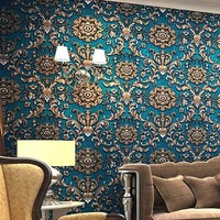 3D European Wallpaper Damask Wall Paper Mural Flocking Papel De Parede Floral Blue Grey Contact Paper