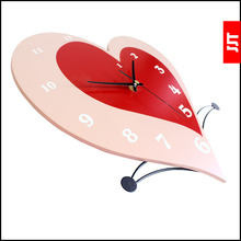 Luminousness heart wooden wall clock fashion brief silent watch decoration clock table