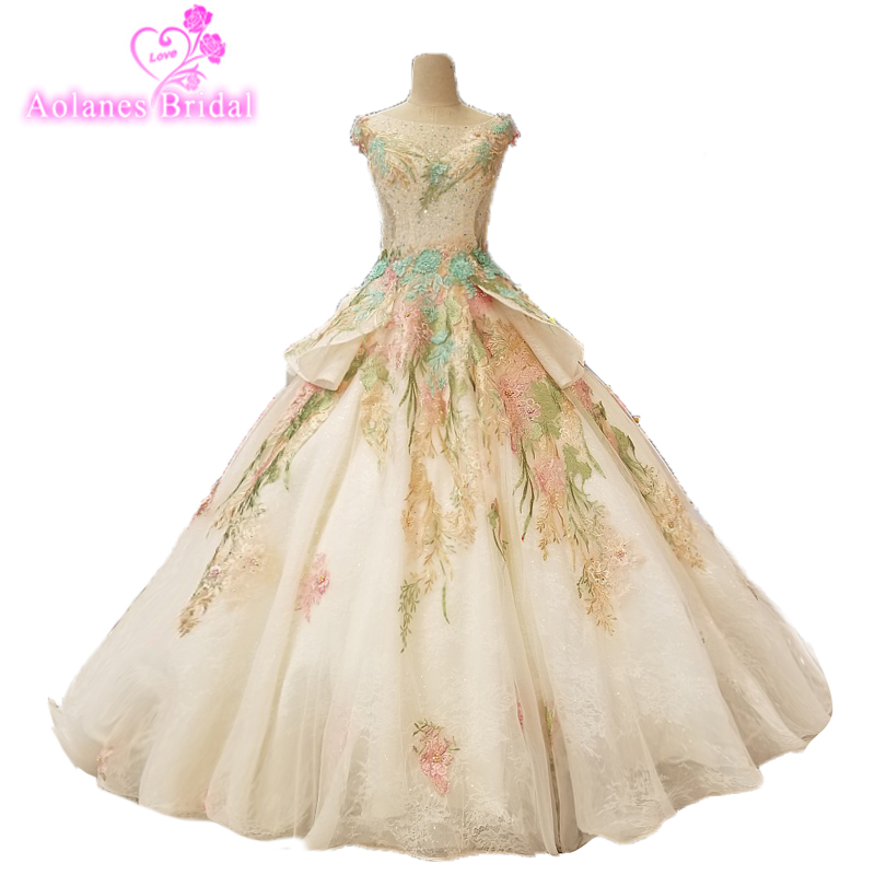 Real Work Prom Dresses 2018 Princess Champagne Green Pink Blue Tulle Vestido De Fiesta Lace  Appliqued Women Evening Party Gowns