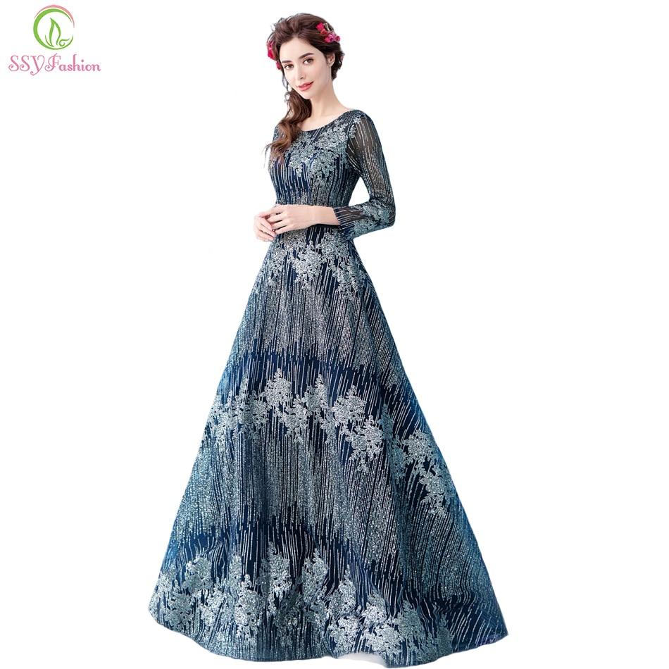 SSYFashion New The Banquet Luxury Evening Dress Navy Blue Long ... 6cfddcb9d