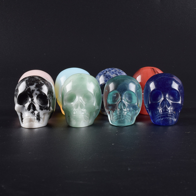 Crystal Skull Head on Wins Stretchy Ring -Silver