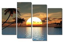 4 Pieces/set Sea Scenery With Beach Wall Art For Decor Home Decoration Picture Paint on Canvas Prints Painting framed XJ-