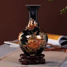 New Chinese Style Vase Jingdezhen Black Porcelain Crystal Glaze Flower Vase Home Decor Handmade Shining Famille Rose Vases