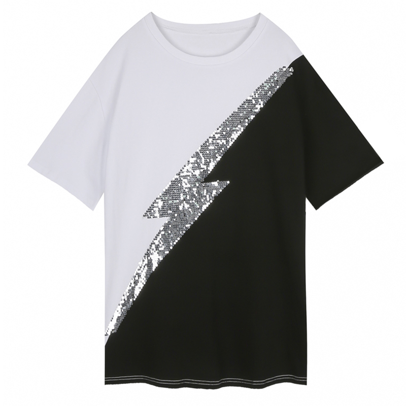 T-shirts Fast Deliver Perhaps U Black White Patchwork Sequined Short Sleeve O Neck Casual T-shirt Women Female Summer B0557 Nourishing The Kidneys Relieving Rheumatism Women's Clothing