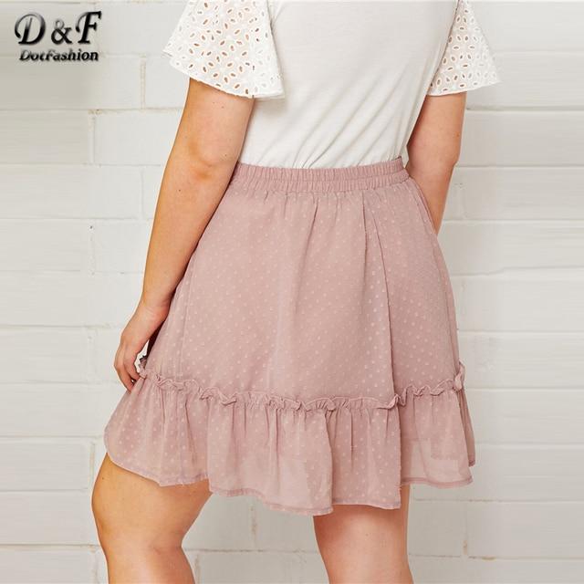 Dotfashion Plus Size Pink Dobby Mesh Drawstring Waist Ruffle Hem Skirt Women 2019 Summer Boho Spring Ladies Cute A Line Skirt 1