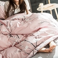 Pink Plum Blossom Print Duvet Cover Set 100% Egyptian Cotton Bedding Set Queen King Size,Girls Bed Linens/Coverlet Bed Sheets