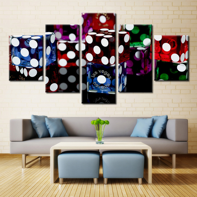 5 Piece Movie Poster Las Vegas Dice Casinos Painting Canvas Wall Art Picture Home Decor Living Room Print Modern
