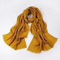 2016 Высокое качество женский сложенный саржа Линии уютный чистый шерстяной шарф зима шаль обертывания для женщин конфеты цвет негабаритных 200*75 см