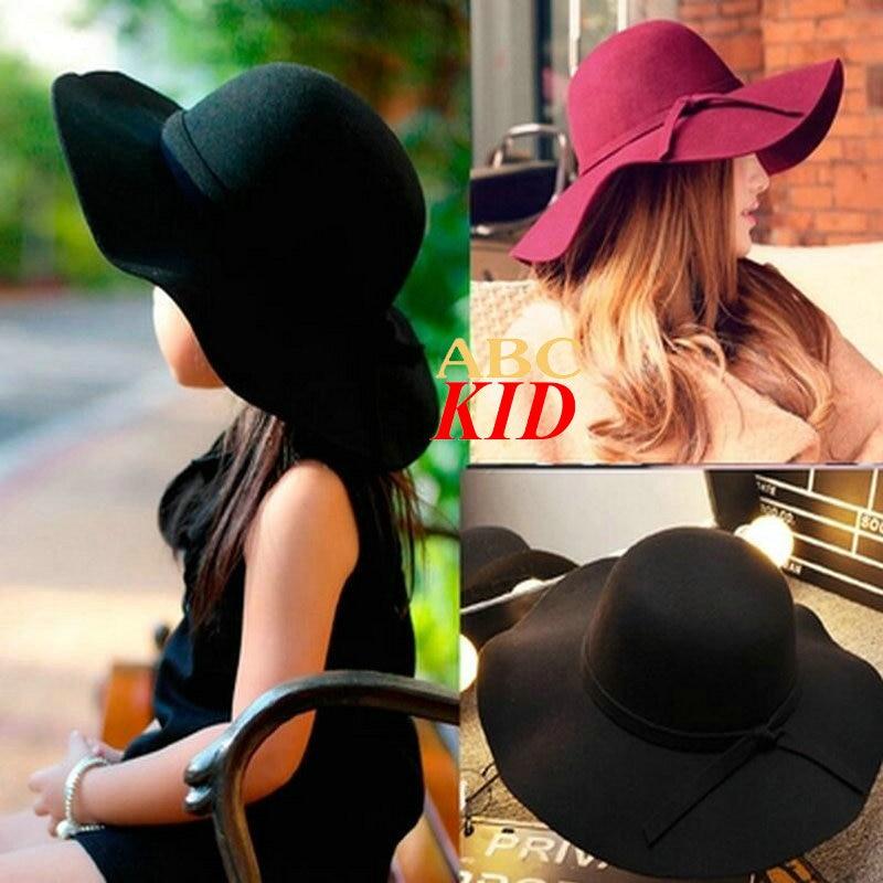 Solid Color Girls gorros infantiles Fashion girl beret elegant bow kids hats Parent-child caps Mother Kids hats KD057
