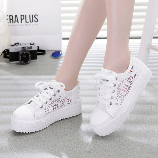 Sneakers Women Fashion Breathable Platform Casual shoes dropshing Lace Leisure flat white canvas Women's Vulcanize Shoes CLD902 1