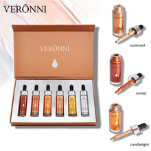 VERONNI 6 Color Glitter Liquid Highlighter Set Brightening Shimmer Bronzer Makeup Glow Kit Hot Sales Cosmetic