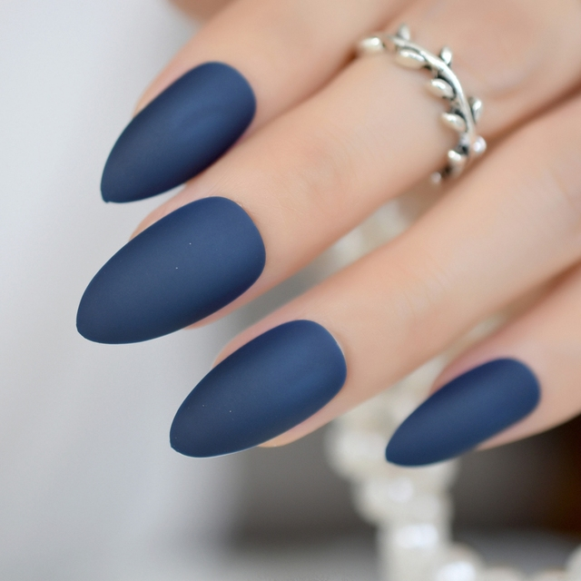 Good Feeling Blue Black Matte Frosted Stiletto Oval False Nails Art ...