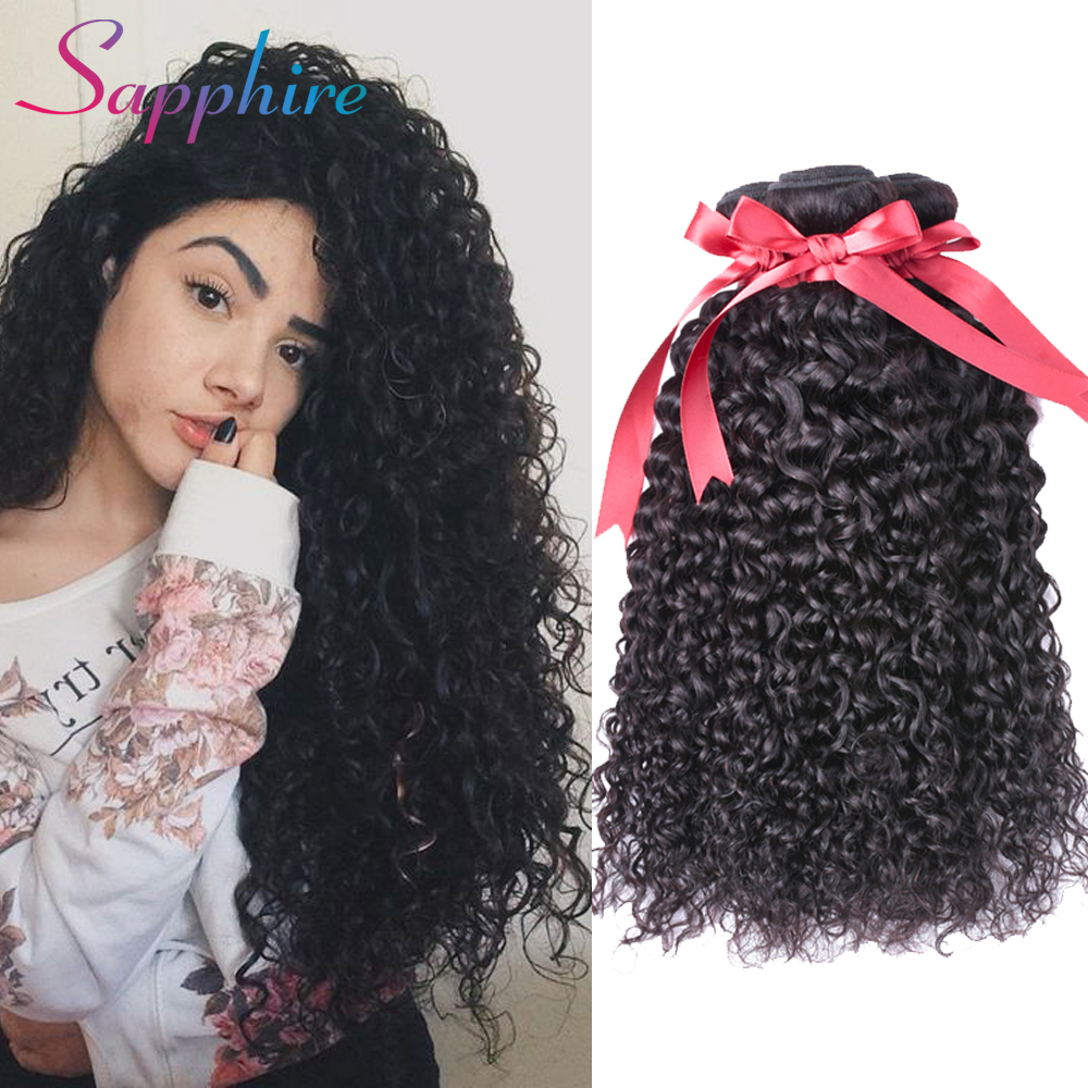 Sapphire Kinky Curly Hair Brazilian Hair Weave Bundles 3Pcs Human Hair Bundles Non Remy Natural Color Free Shipping