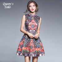 Queen S Tailo Elegant Woman Little Floral Printed A Line Dress Sleeveless Quality Slim Leisure Party