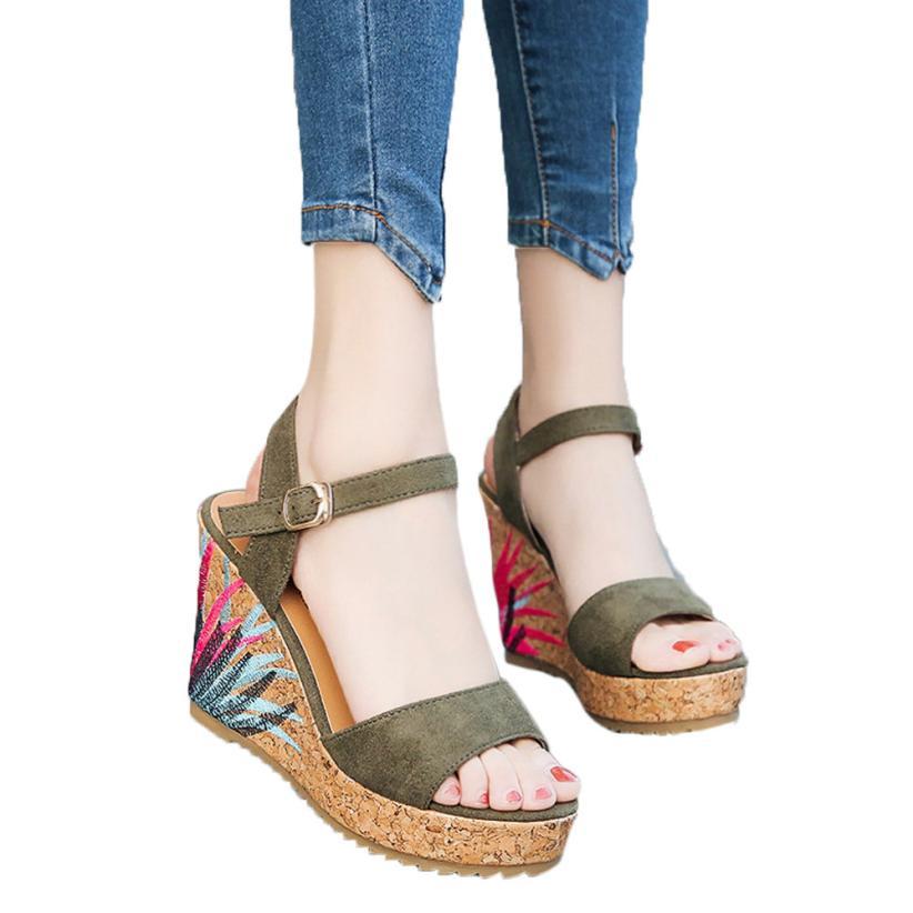 Sandals women 2017 summer wedge High heels Sponge cake The