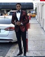 Burgundy Tucedos Black Lapel Men Suits Slim Fit Groomsmen Wedding Suit Best men Marriage Groom Tuxedo 3 Piece(Jacket+Pant)